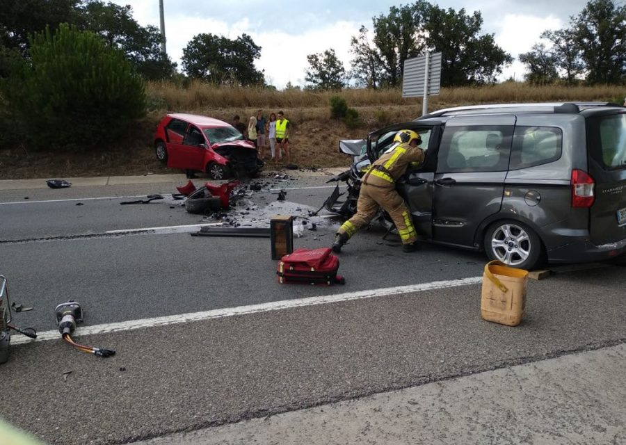 Accident Llagostera xoc frontal