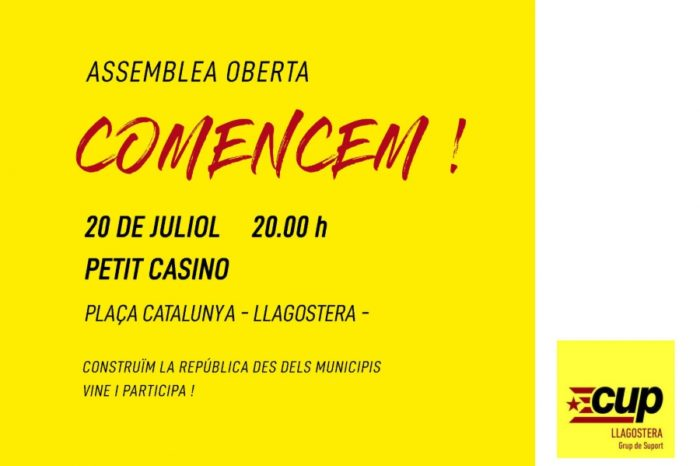 Assemblea oberta del grup de suport de la CUP a Llagostera